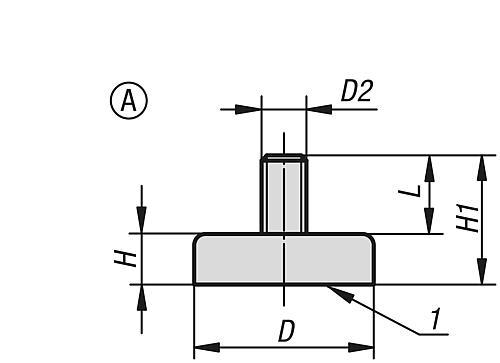 Flachgreifer Form A, aus Hartferrit mit Außengewinde, Zeichnung