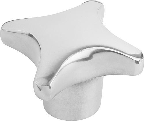 Kreuzgriff DIN 6335, Form E mit Gewindesackloch, poliert, Aluminium