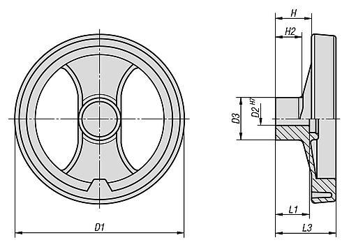 2-Speichenhandrad mit ohne Griff, Kunststoff, Zeichnung