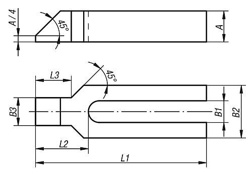 Spanneisen gabelförmig mit Nase, Zeichnung