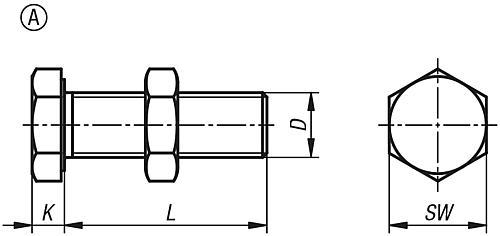 Anschlagschraube Form A Zeichnung