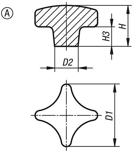 Kreuzgriff DIN 6335, Form A Rohling, Zeichnung