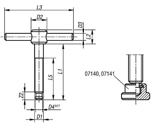 Knebelschraube DIN 6304 Zeichnung