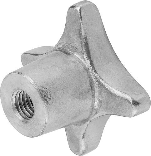 Kreuzgriff DIN 6335, Form D mit Durchgangsloch und Gewinde, gleitgeschliffen, Aluminium, seitlich
