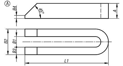 Spanneisen gabelförmig DIN 6315 Stahl Zeichnung Form A