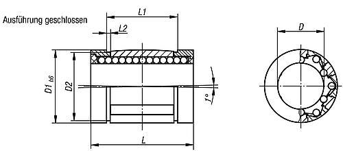 Linearkugellager mit Winkelfehlerausgleich, Kunststoff