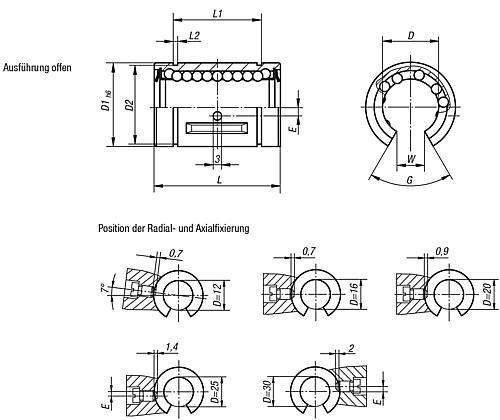 Linearkugellager mit Stahlkäfig, offene Ausführung, Zeichnung