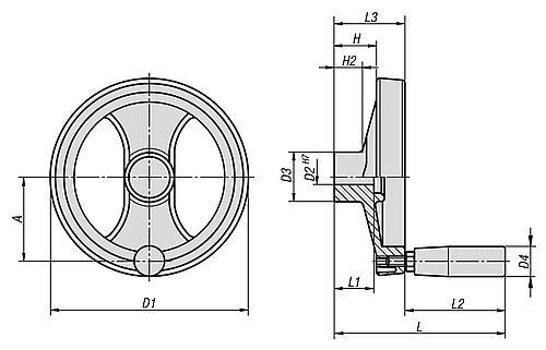 2-Speichenhandrad mit drehbarem Griff, Kunststoff, Zeichnung